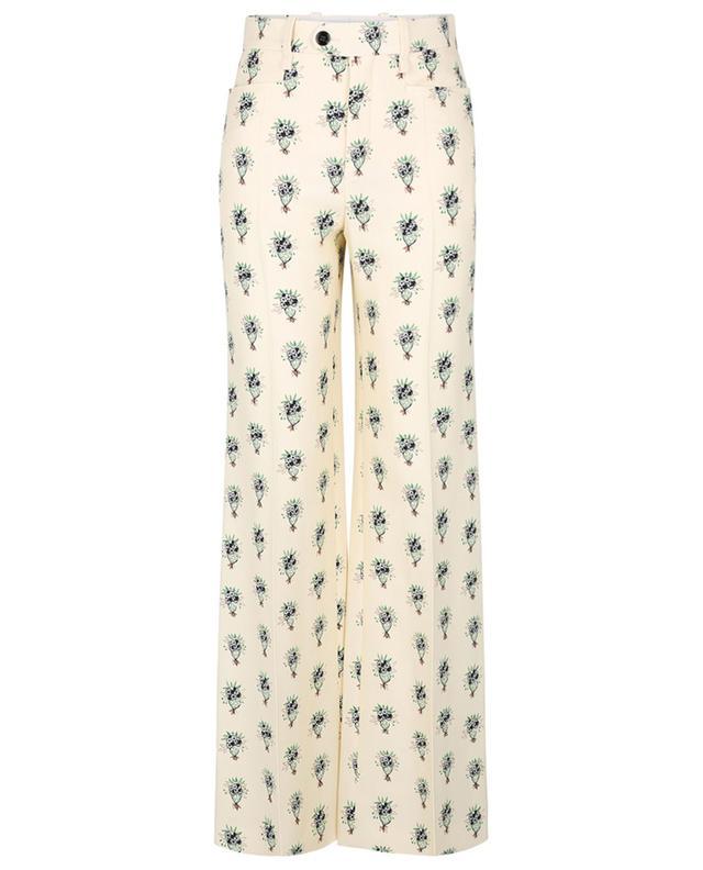 Pantalon évasé en crêpe imprimé Bouquet CHLOE