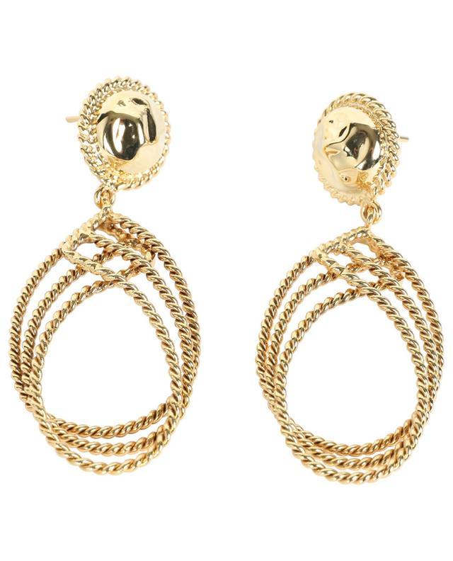 Boucles d'oreilles dorées motif corde ART0285 POGGI