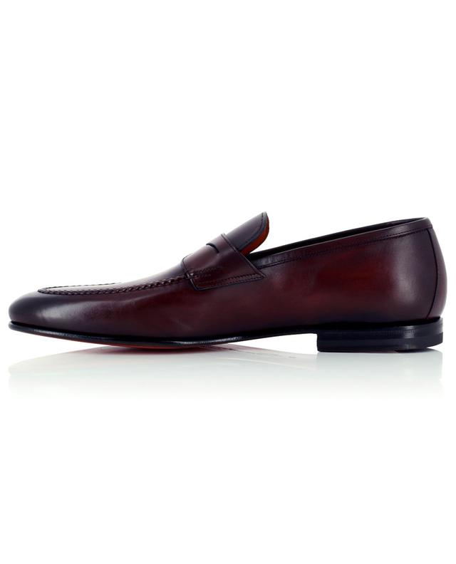 Shiny smooth leather loafers with strap SANTONI