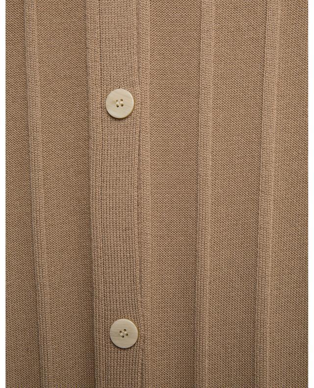 Cardigan côtelé long en laine Wide Rib Empire THEORY
