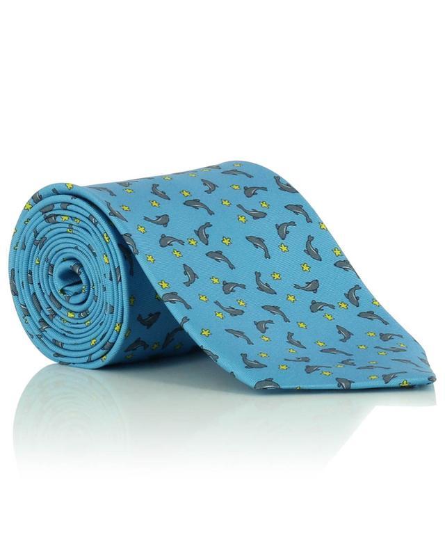 Cravate en soie imprimée dauphins FEFE NAPOLI