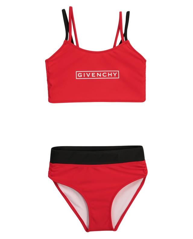 Bikini fille rouge et noir imprimé logo GIVENCHY