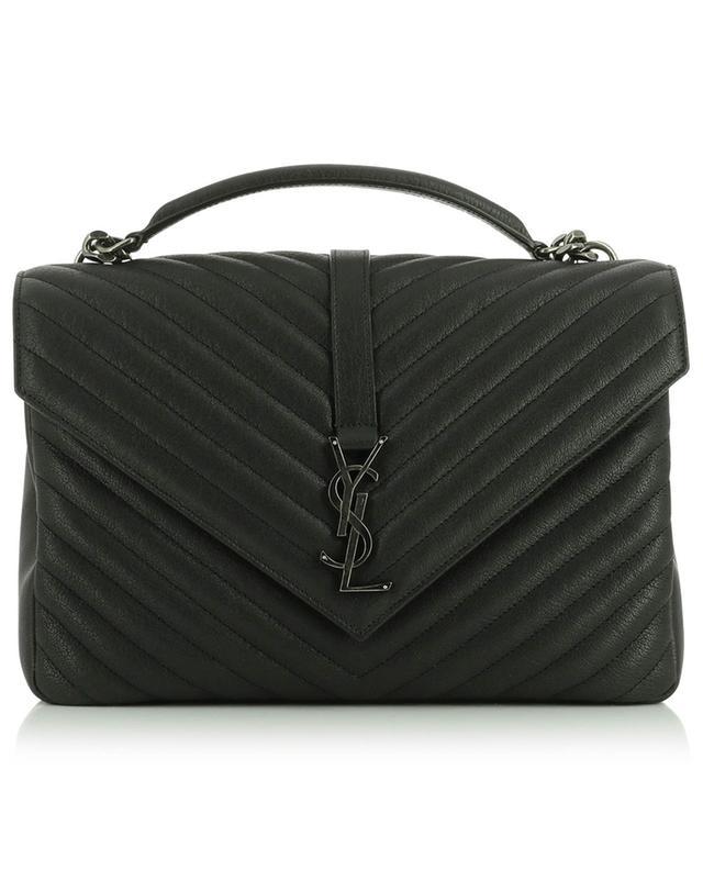 College Large grained leather quilted shoulder bag SAINT LAURENT PARIS
