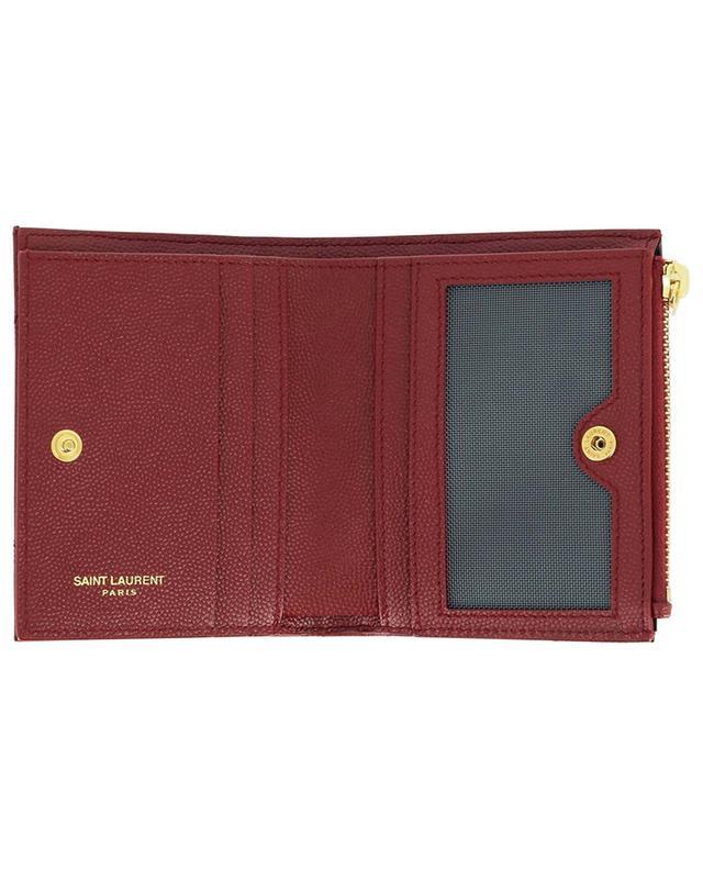 Porte-cartes matelassé zippé en cuir grain de poudre Monogram SAINT LAURENT PARIS