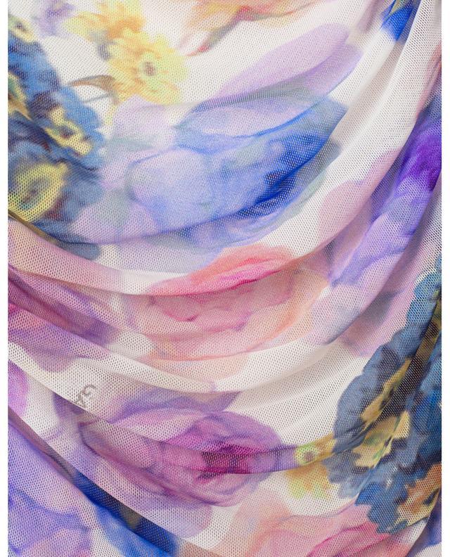 Robe fourreau en mesh froncé imprimée fleurs GANNI