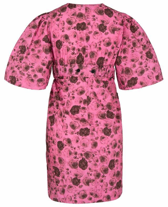 Mini robe portefeuille en popeline imprimée roses Shocking Pink GANNI