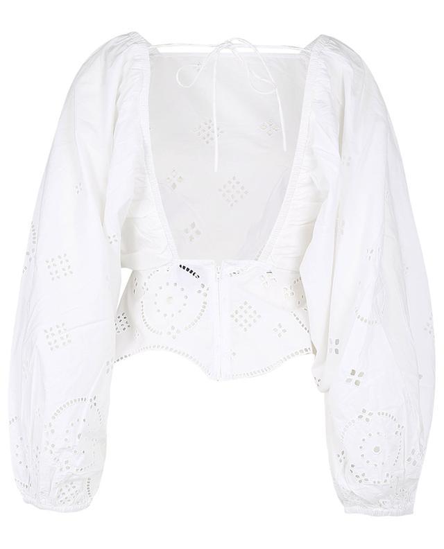 Blouse à dos ouvert en coton avec broderies ajourées GANNI