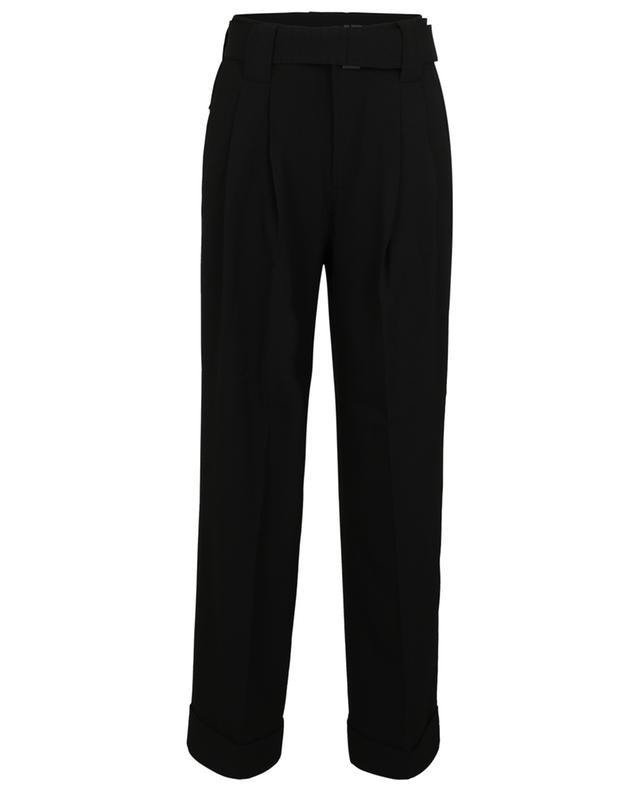 Pantalon droit avec ceinture en crêpe lourde GANNI