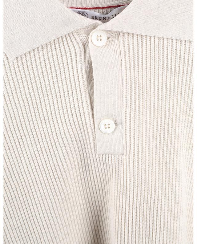 Polo à manches courtes en coton à côtes anglaises BRUNELLO CUCINELLI