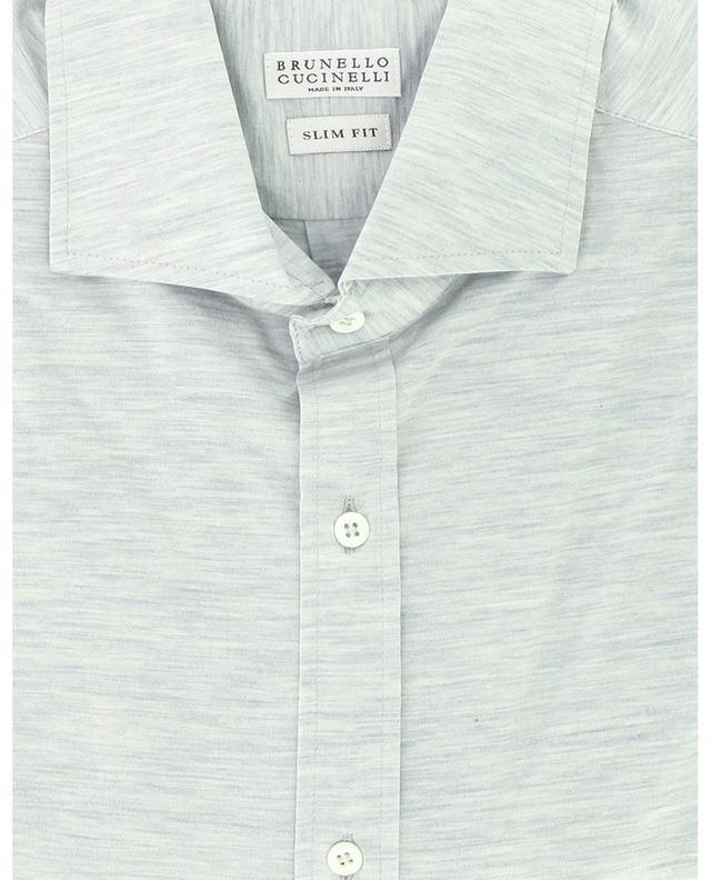 Chemise slim à manches longues en jersey de soie et coton BRUNELLO CUCINELLI