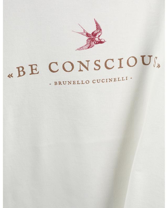 """T-shirt slim en jersey imprimé """"Be Conscious"""" BRUNELLO CUCINELLI"""