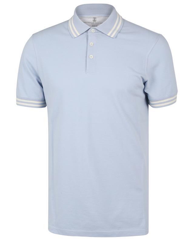 Polo slim bleu clair à rayures blanches BRUNELLO CUCINELLI