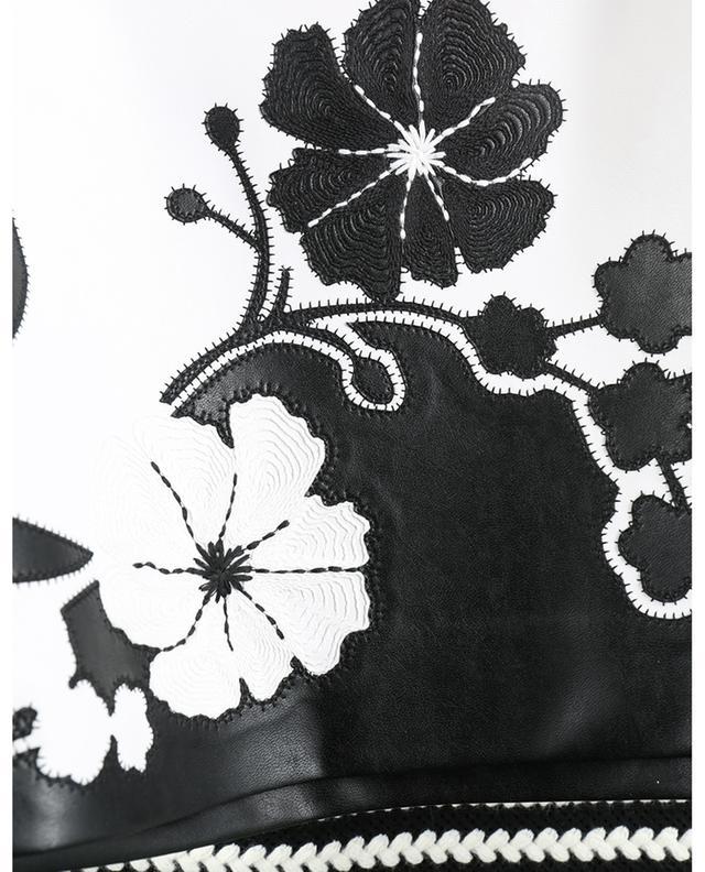Minijupe en cuir synthétique bicolore brodée de fleurs ERMANNO SCERVINO