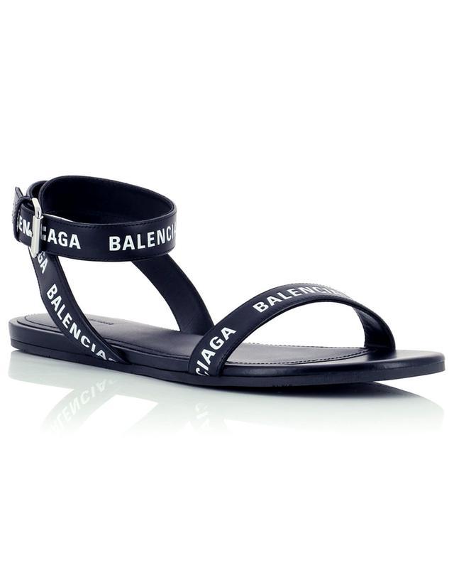 Sandales plates en cuir à bouts ronds Allover Logo 05 BALENCIAGA