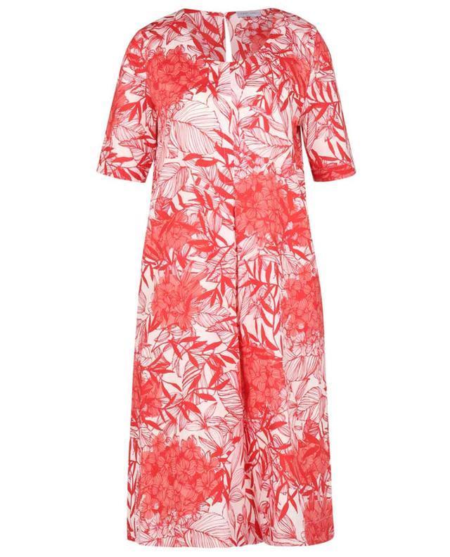 Robe trapèze en popeline de coton imprimée fleurs GRAN SASSO