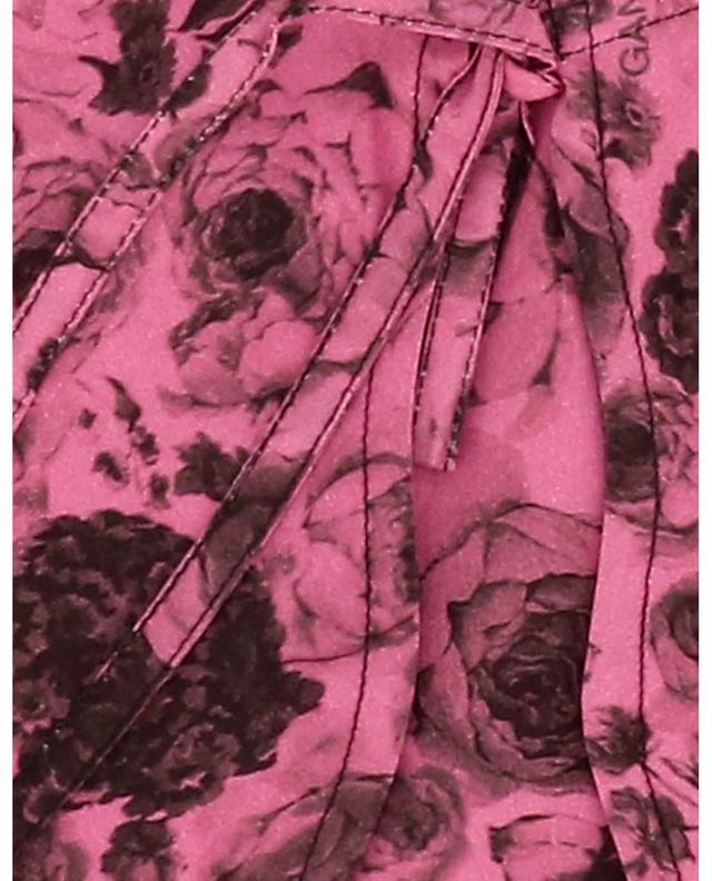 Col échancré en coton bio imprimé roses Shocking Pink GANNI