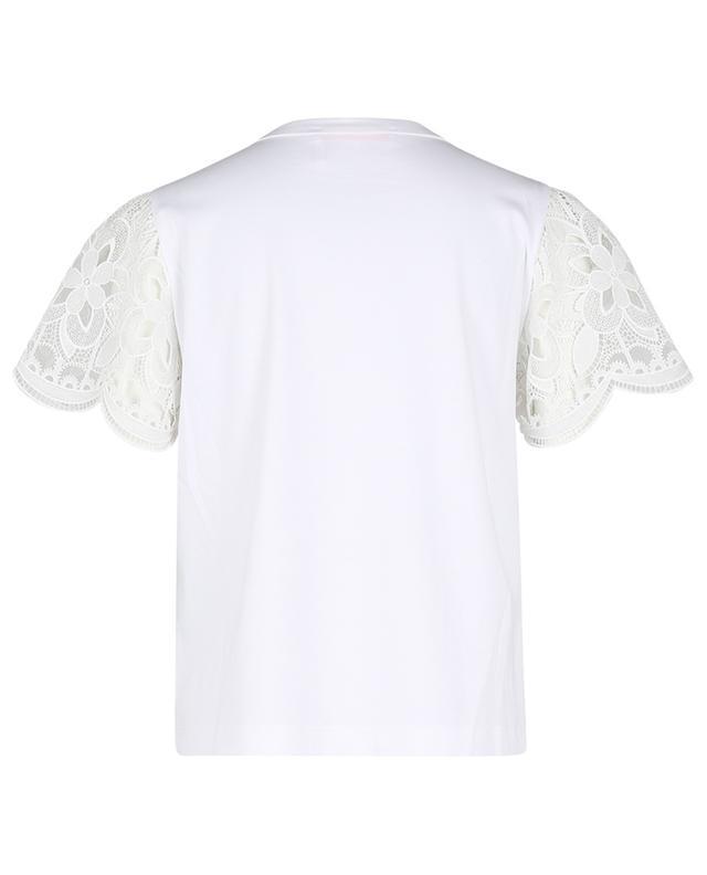 T-shirt en jersey à manches dentelle courtes SEE BY CHLOE