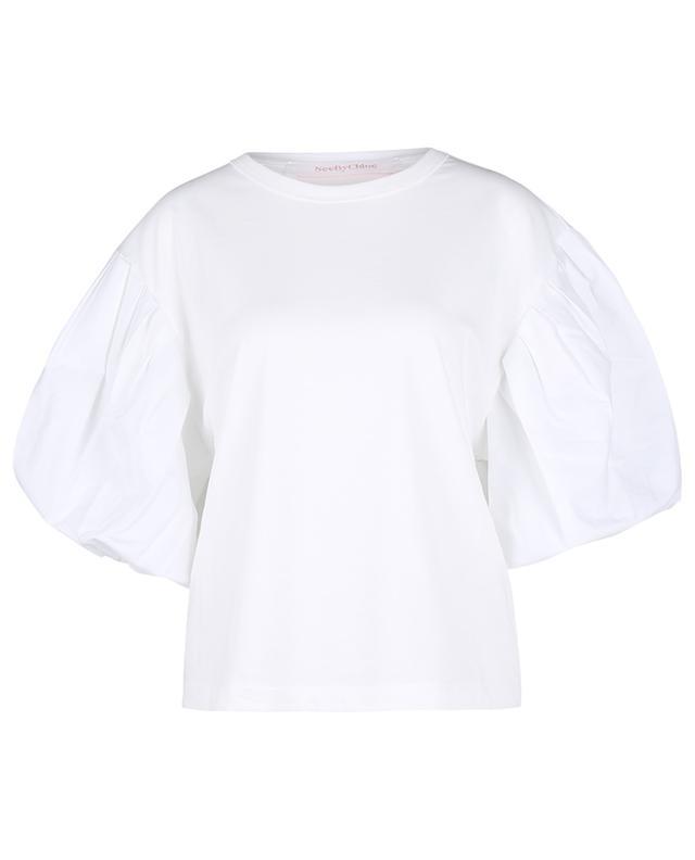 T-shirt boxy en jersey à manches bouffantes en popeline SEE BY CHLOE