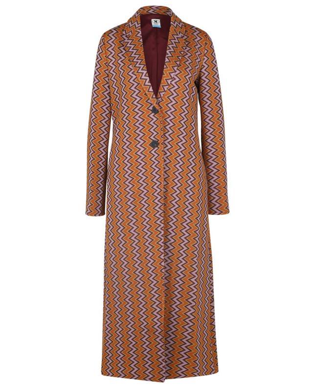 Manteau longue à boutonnage simple en maille motif zigzag M MISSONI