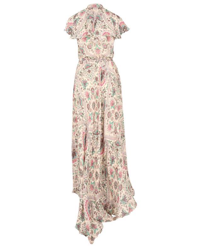 Robe longue à volants en soie imprimée de motifs Paisley floraux ETRO