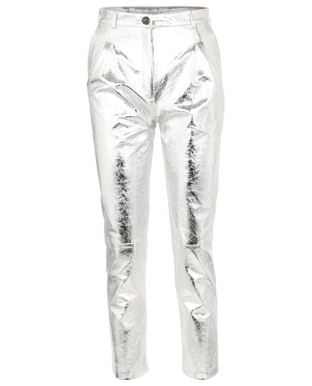 Pantalon fuselé en cuir argenté ETRO