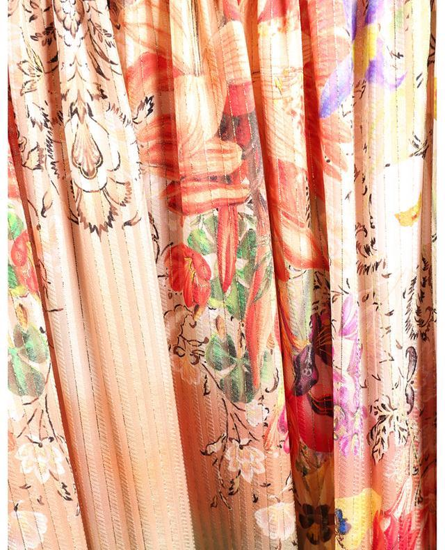 Jupe longue à étages volantées en soie fleurie et lurex ETRO