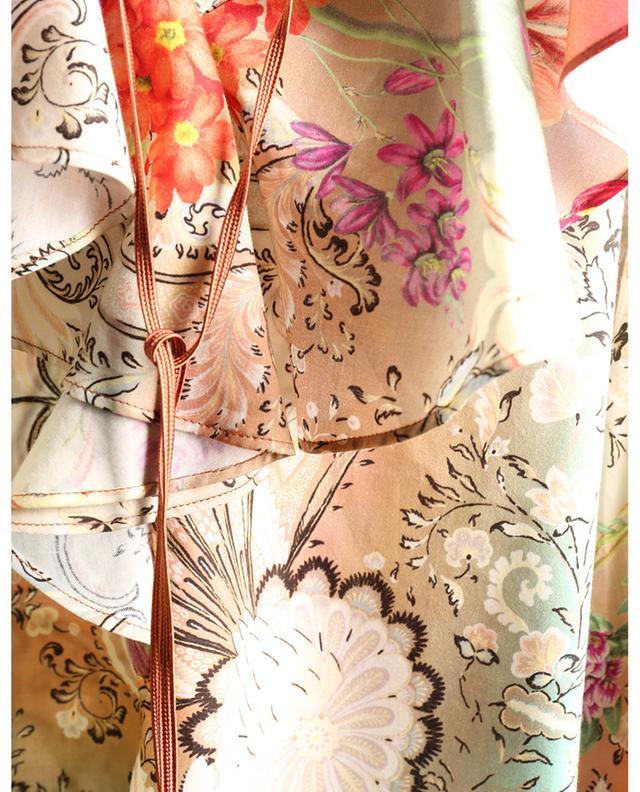 Blouse en voile de coton à volants et imprimé floral ETRO
