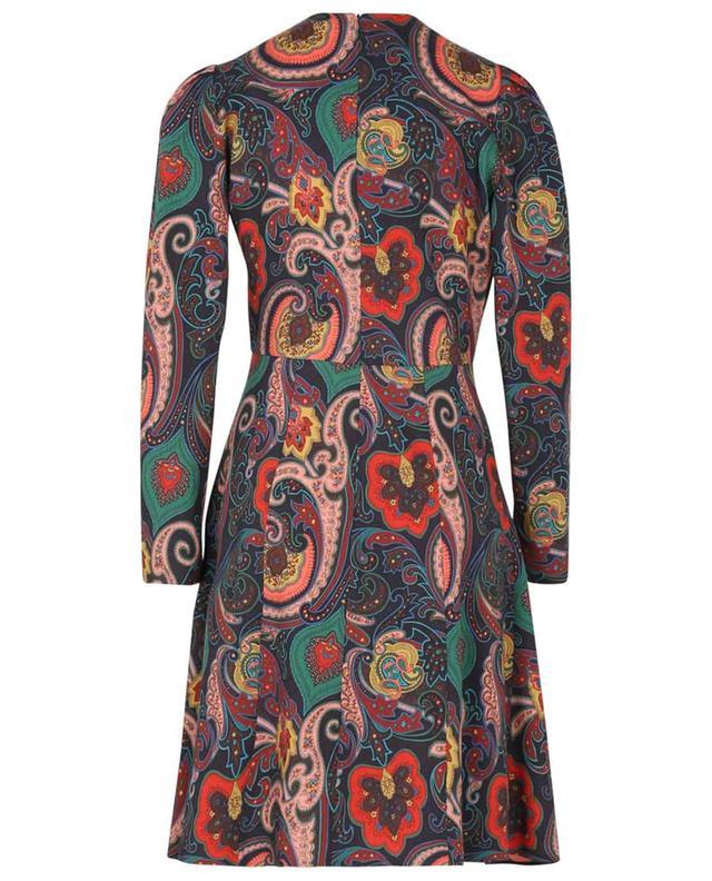 Robe courte évasée en laine imprimée Paisley fleuri ETRO