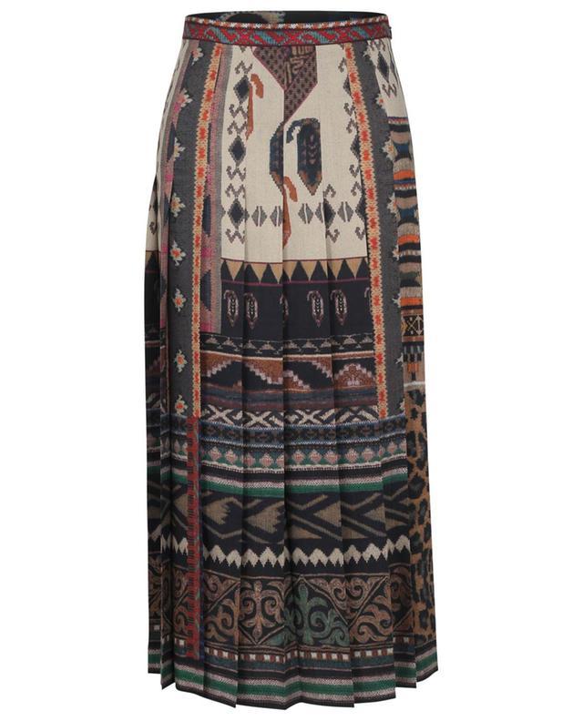 Jupe plissée en sergé de laine et soie imprimée Ikat ETRO