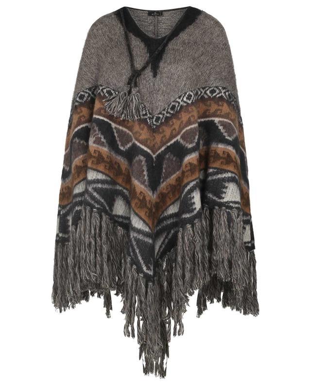 Cape en maille de laine mélangé motifs Ikat à franges ETRO