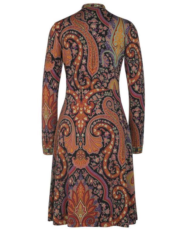 Robe courte évasée en laine à motifs Paisley et Ikat ETRO