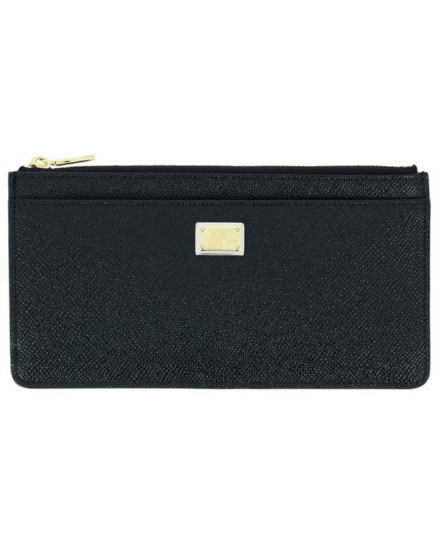 Grand porte-cartes en cuir dauphine avec poche zippée DOLCE & GABBANA