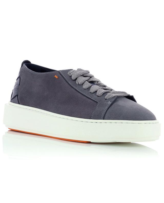 Sneakers à lacets en daim et cuir SANTONI