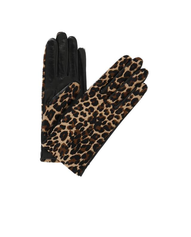Agnelle handschuhe aus leder mit fell chloe braun a20899