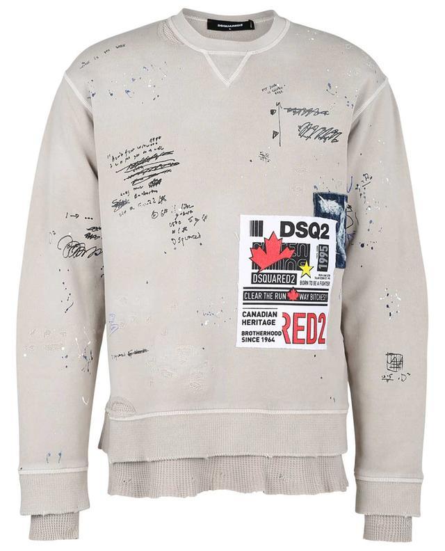 Sweat-shirt oversize vieilli à graffitis et patchs Cool Fit DSQUARED2