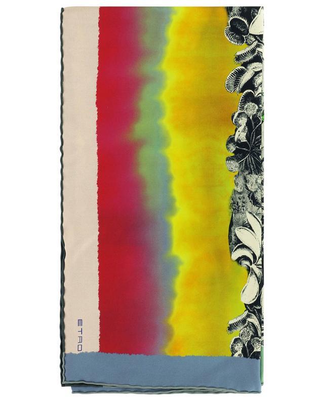 Carré de soie imprimé fleurs et oiseaux ETRO