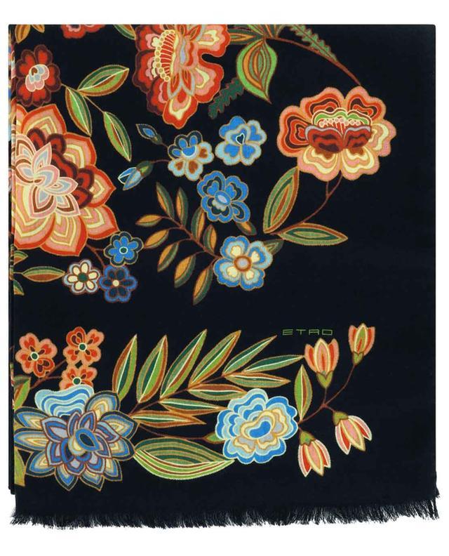 Écharpe en cachemire et soie avec imprimé farandole de fleurs Shaal-Nur ETRO