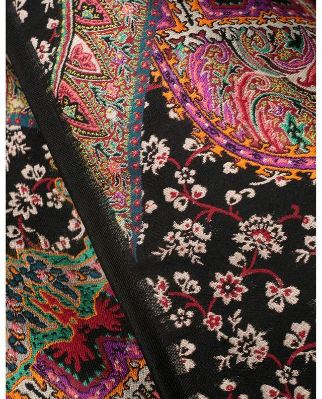Cape jacquard en laine et soie à fleurs multicolores ETRO