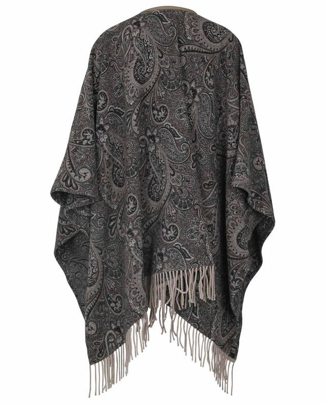Cape en laine et soie à motif paisley et détails en cuir ETRO
