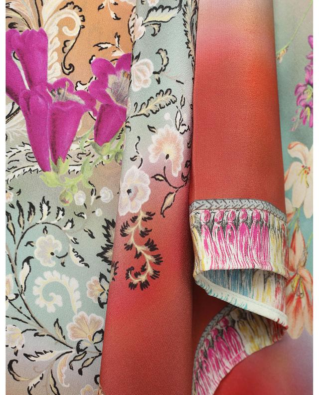 Poncho en crêpe de soie imprimé fleurs et Paisley ETRO