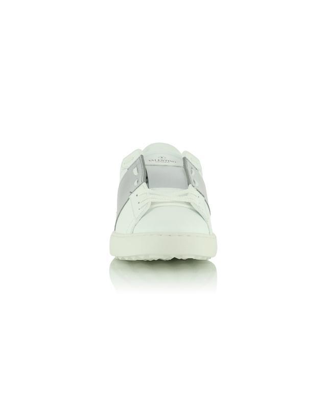 Baskets basses à lacets blanches détails cuir argenté Open VALENTINO