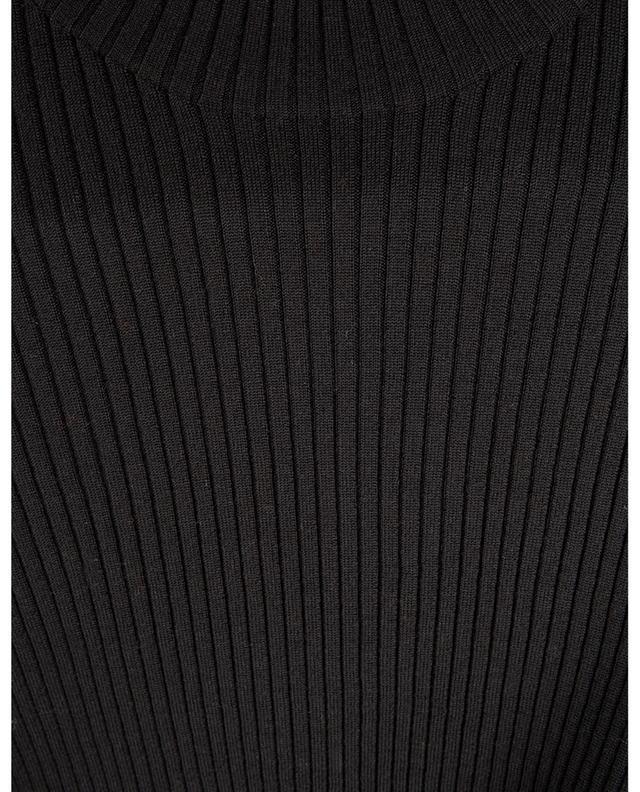 Pull chaussette côtelé à manches courtes et col montant AKRIS PUNTO