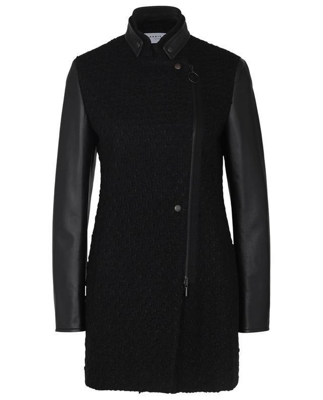 Blazer en tweed et cuir zippé AKRIS PUNTO