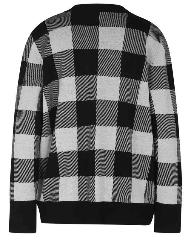 Cardigan pure laine à carreaux et boutonnage asymétrique AKRIS PUNTO