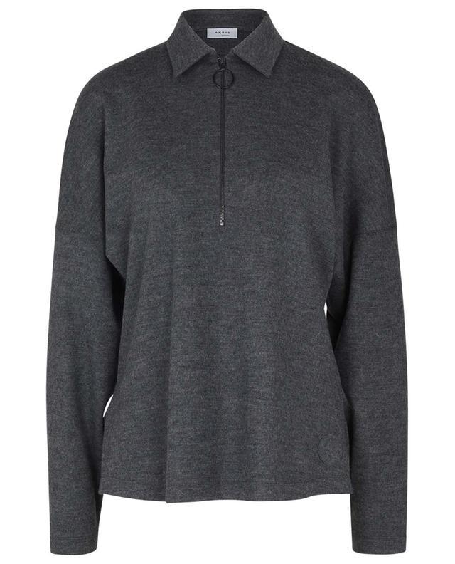 Chemise oversize zippée en jersey de laine AKRIS PUNTO