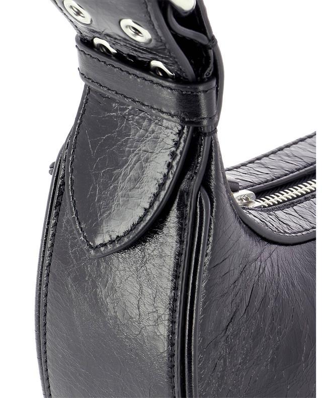Sac à main en cuir froissé Soho Black BY FAR