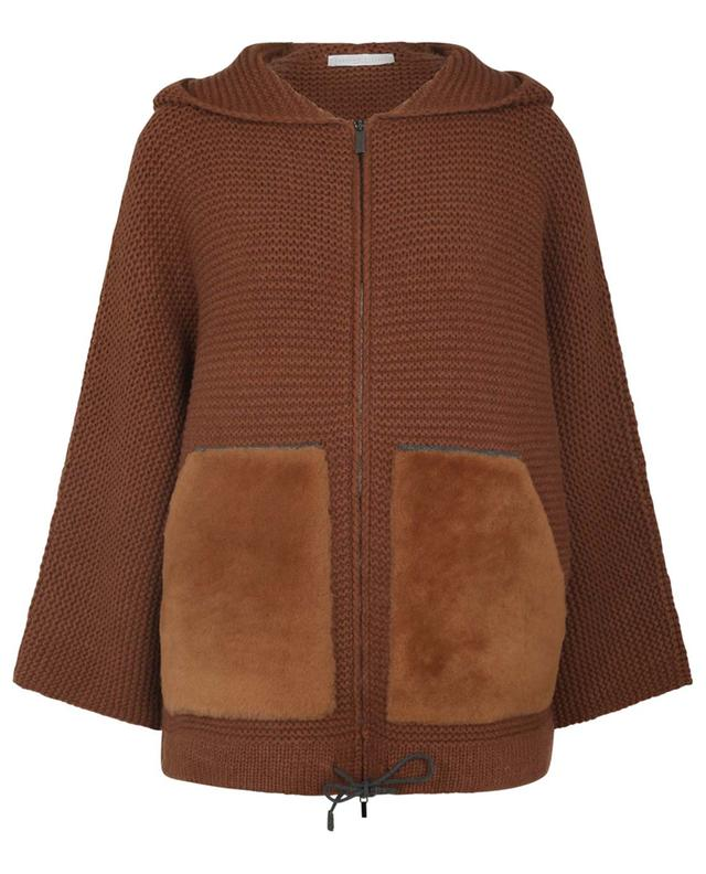 Cardigan boxy à capuche avec peau lainée FABIANA FILIPPI