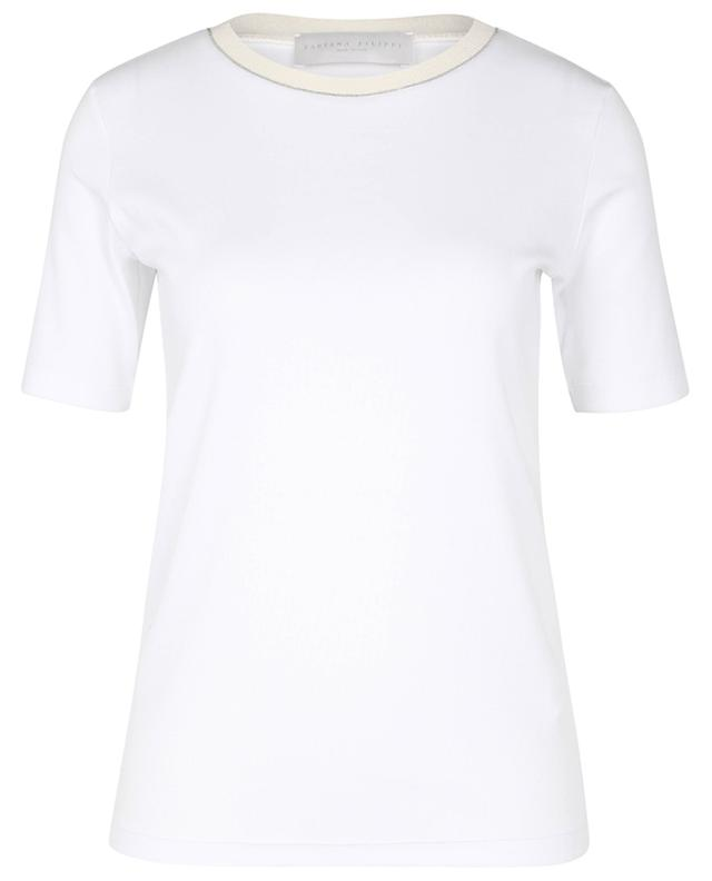 T-shirt en jersey côtelé à manches courtes et détails laine côtelés FABIANA FILIPPI