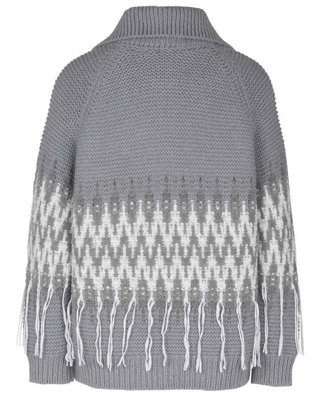 Cardigan en laine mélangée et franges FABIANA FILIPPI