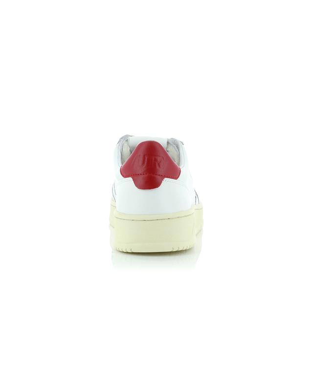 Baskets basses à lacets en cuir blanc et rouge Medalist AUTRY